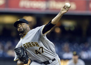 Photo - Pittsburgh Pirates starting pitcher Francisco Liriano works in the first inning of a baseball game against the San Diego Padres, Monday, Aug. 19, 2013, in San Diego. (AP Photo/Lenny Ignelzi)