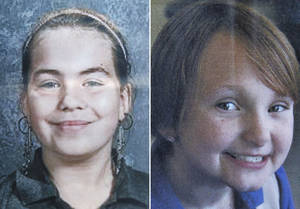 Photo -   This combo made from undated photos provided by Black Hawk County police shows cousins Lyric Cook-Morrissey, 10, left, and Elizabeth Collins, 8, who have been missing since Friday afternoon, July 13, 2012. The girls were last seen Friday afternoon leaving their grandmother's house. (AP Photo/Black Hawk County Police via Waterloo Courier)