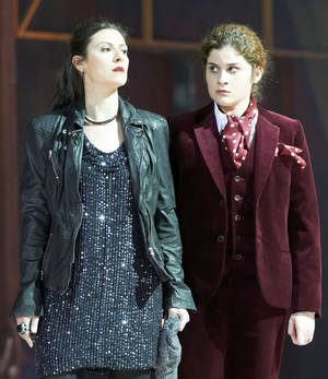 "Photo -   In this photo taken Monday, May 7, 2012, Chen Reiss in the role of Servilia and Serena Malfi as Annio, from left, perform during a dress rehearsal for the opera ""La Clemenza di Tito"" by Wolfgang Amadeus Mozart at the State Opera in Vienna, Austria. (AP Photo/Wiener Staatsoper/Michael Poehn)"