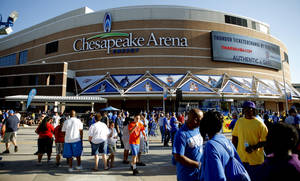 Photo - Fans gather in Thunder Alley before Game 5 in the second round of the NBA playoffs between the Oklahoma City Thunder and the L.A. Lakers at Chesapeake Energy Arena in Oklahoma City, Monday, May 21, 2012. Photo by Bryan Terry, The Oklahoman