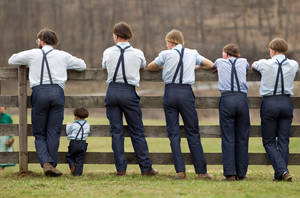 Photo - Amish boys watch a game of baseball outside the school house in Bergholz, Ohio, on Tuesday, April 9, 2013.  Many Amish families gathered following the final day of school for a celebration and farewell picnic. (AP Photo/Scott R. Galvin)