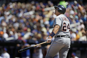 Photo - Detroit Tigers' Miguel Cabrera looks after his two-run home run during the first inning of an interleague baseball game against the New York Mets at Citi Field, Sunday, Aug. 25, 2013, in New York. (AP Photo/Seth Wenig)