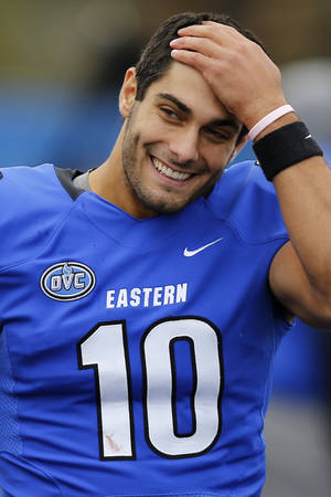 Photo - FILE - This Nov. 2, 2013 file photo shows Eastern Illinois quarterback Jimmy Garoppolo  on the sideline during the second half of an NCAA football game against Tennessee Tech at O'Brien Field in Charleston, Ill. Garoppolo and fellow Walter Payton Award finalist Terrance West of Towson have been selected to The Associated Press FCS All-America team, Wednesday, Dec. 18, 2013. (AP Photo/ Stephen Haas, File)