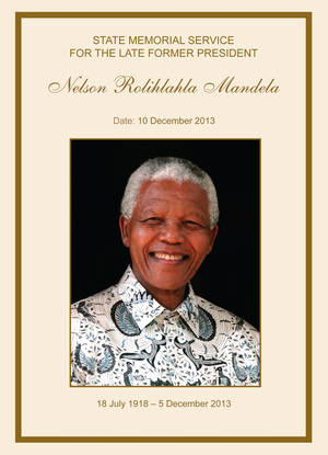 Photo - This handout image provided on Monday Dec.9, 2013 by the GCIS of the front page of the programme for the memorial service to late South African president Nelson Mandela. Scores of heads of state and government and other foreign dignitaries, including royalty, are beginning to converge on South Africa as the final preparations for Tuesday's national memorial service for liberation struggle icon Nelson Mandela are put in place.  (AP Photo/HO, GCIS)