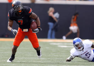 Photo - OSU receiver Michael Harrison, left, has decided to leave the program, accordingto Cowboys coach Mike Gundy. PHOTO BY SARAH PHIPPS, The Oklahoman <strong>SARAH PHIPPS</strong>