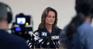 Photo -   Barbara Baker, CEO and president of the Pittsburgh Zoo and PPG Aquarium pauses as she answers questions during a news conference on Monday, Nov. 5, 2012, in Pittsburgh. Zoo officials said a young boy was killed after he fell into an African wild dog exhibit and the dogs mauled him on Sunday, Nov. 4, 2012. (AP Photo/Keith Srakocic)