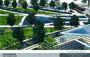 photo - A drawing for a park between Civic Center Music Hall and City Hall is shown. Drawing Provided