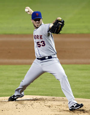 Photo -   New York Mets' Jeremy Hefner pitches to the Miami Marlins in the first inning of a baseball game in Miami, Wednesday, Oct. 3, 2012. (AP Photo/Alan Diaz)