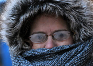 Photo - With  temperatures below zero, Brenda Williams, 53, of Charleston, braves the cold to get her haircut downtown Charleston, W.Va..  Her glasses had frosted over and she could barely see.     (AP Photo/The Daily Mail, Craig Cunningham)