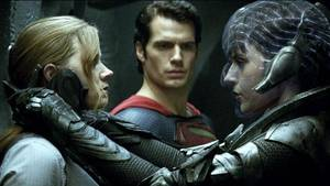 "Photo - (L-r) AMY ADAMS as Lois Lane, HENRY CAVILL as Superman and ANTJE TRAUE as Faora-Ul in Warner Bros. Pictures' and Legendary Pictures' action adventure ""MAN OF STEEL,"" a Warner Bros. Pictures release."