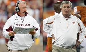 Photo - Texas A&M coach Mike Sherman and Texas coach Mack Brown. (Archive photos/The Associate Press)