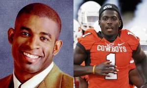 Photo - Left: Deion Sanders. Photo by CBS. Right: OSU's Dez Bryant. Photo by Nate Billings, The Oklahoman