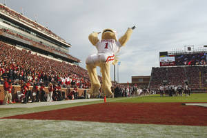 photo - Mascot &quot;Sooner&quot; turns a flip during the second half of the college football game where the Texas A&amp;M Aggies were defeated by the University of Oklahoma Sooners (OU) 41-25 at Gaylord Family-Oklahoma Memorial Stadium on Saturday, Nov. 5, 2011, in Norman, Okla. Photo by Steve Sisney, The Oklahoman 