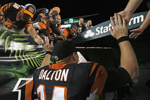 Photo - Cincinnati Bengals quarterback Andy Dalton leaves the field after the Bengals defeated the Pittsburgh Steelers 20-10 in an NFL football game, Monday, Sept. 16, 2013, in Cincinnati. (AP Photo/David Kohl)