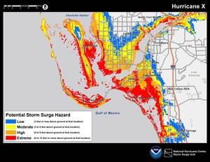 Photo - This color-coded graphic made available by the National Hurricane Center on Tuesday, May 21, 2013, shows an example of a map highlighting the greatest risk of storm surge during a storm. The National Hurricane Center will post maps like this on its website starting this hurricane season to alert residents and businesses of areas where storm surge is possible. The hurricane season goes from June 1 to Nov. 30.  (AP Photo/National Hurricane Center)