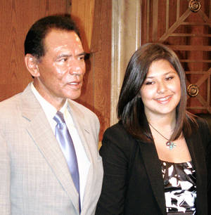 Photo - Actor Wes Studi, a Cherokee, and Caitlin Baker, a Muscogee Creek member from Norman, are shown after a June 30 hearing in Washington on diabetes research. Photo by Chris Casteel, The Oklahoman