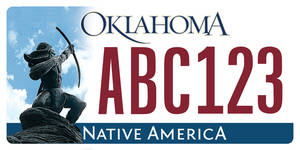 Photo - Sample Oklahoma license plate. <strong></strong>
