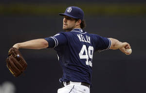 Photo -   San Diego Padres starting pitcher Casey Kelly throws against the Arizona Diamondbacks during the first inning of their baseball game Saturday, Sept. 8, 2012, in San Diego. (AP Photo/Gregory Bull)