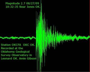 photo - Seismograph image provided by the Oklahoma Geological Survey .