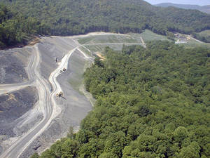 Photo -   In this undated photo released by the Kentucky Division of Mine Reclamation and Enforcement, an aerial view of an Apollo Fuels mine near Middlesboro, Ky. where vegetation is being established during the reclamation process.