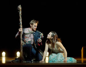 "Photo -   In this Oct. 15, 2012 photo provided by the Metropolitan Opera, Simon Keenlyside is Prospero and Isabel Leonard is Miranda during a dress rehearsal of Thomas Adès's ""The Tempest,"" at the Metropolitan Opera in New York. (AP Photo/Metropolitan Opera, Ken Howard)"