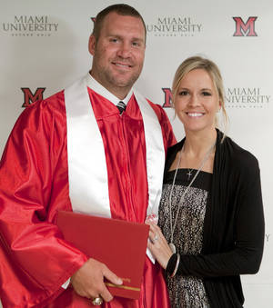 Photo -   FILE - In this May 6, 2012, file photo, provided by Miami University, Pittsburgh Steelers quarterback Ben Roethlisberger poses with his wife Ashley Harlan after receiving his bachelor's degree in education during a commencement ceremony at the campus in Oxford, Ohio. The Roethlisberger's are welcoming their new son Benjamin Jr. He says his wife Ashley gave birth on Wednesday night, Nov. 21, 2012, according to a post in his website Thursday. (AP Photo/Miami University, Jeff Sabo, File)