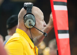 Photo - North Dakota State head football coach Craig Bohl watches from the sideline during an NCAA college football game in the quarterfinals of the Football Championship Subdivision playoffs against Coastal Carolina Saturday, Dec. 14, 2013, in Fargo, N.D. (AP Photo/Kevin Cederstrom)