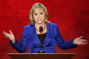 photo - Left: Oklahoma Gov. Mary Fallin gives her speech at the convention. AP Photos