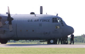 Photo - A file photo shows a C-130 Arkansas Air National Guard plane at Wiley Post Airport.  Staff photo by Michael Downes. <strong>MICHAEL DOWNES</strong>