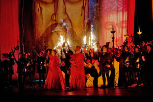 "Photo - In this Feb. 19, 2013 photo provided by the Metropolitan Opera, the cast fill the stage during a dress rehearsal of ""Don Carlo"" at the Metropolitan Opera in New York. (AP Photo/Metropolitan Opera, Ken Howard)"