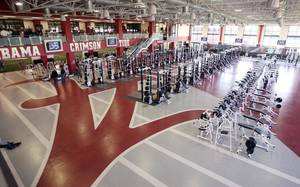 Photo - A look at Alabama's weight room, a two-story facility that includes 20 combination racks. PHOTO PROVIDED BY THE TUSCALOOSA (ALA.) NEWS
