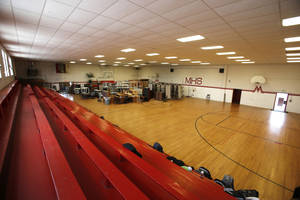 photo - The old gymnasium at Mustang High School in Mustang is shown. Built more than 50 years ago, the gym is in need of a variety of upgrades. Its future is being determined by school officials. <strong>Steve Gooch - The Oklahoman</strong>