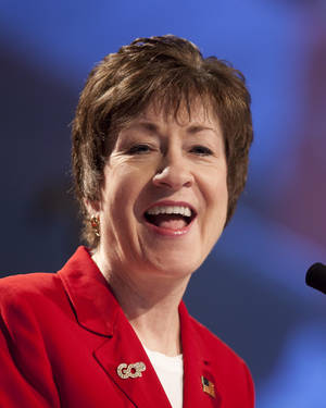 photo -   FILE - In this May 5, 2012 file photo, Sen. Susan Collins, R-Maine, speaks at the Maine Republican convention in Augusta, Maine. Like the Energizer Bunny, Collins keeps on voting, without ever stopping. She's now just shy of making 5,000 consecutive votes since being elected, never having missed a single one. (AP Photo/Robert F. Bukaty, File)