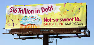 Photo - A billboard calling attention to the national debt has been put up off northbound Interstate 235 just north of Reno Avenue.  <strong>PAUL B. SOUTHERLAND - THE OKLAHOMAN</strong>