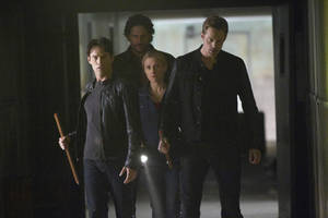 "Photo -   In this publicity photo provided by HBO, from left, actors Stephen Moyer, Joe Manganiello, Anna Paquin, and Alexander Skarsgard, are shown in a scene from HBO's ""True Blood."" (AP Photo/HBO, John P. Johnson)"