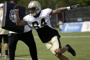Photo - New Orleans Saints wide receiver Kenny Stills (84) during their NFL football training camp in Metairie, La., Tuesday, July 30, 2013. (AP Photo/Gerald Herbert) ORG XMIT: NYOTK
