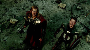 "Photo - Chris Hemsworth, as Thor, and Chris Evans, as Captain America, star in Marvel's ""The Avengers."" Photo provided by Marvel Entertainment"
