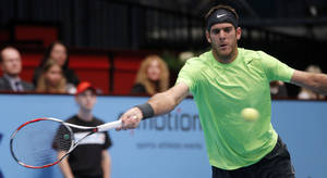 Photo -   Argentina's Juan Martin del Potro returns the ball to Marinko Matosevic of Australia during their quarter final match at the Erste Bank Open tennis tournament in Vienna, Austria, Friday, Oct. 19, 2012. (AP Photo/Ronald Zak)
