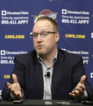 Photo - Cleveland Cavaliers interim general manager David Griffin answers questions during a news conference Tuesday, April 22, 2014, in Independence, Ohio. Unsure of his own future, Griffin discussed Cleveland's disappointing season, which ended for the fourth straight year shy of the NBA playoffs.(AP Photo/Tony Dejak)