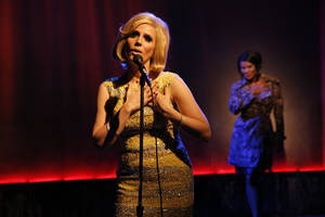"Photo -   This theater image released by The O + M Company shows Kirsten Holly Smith as Dusty Springfield in ""Forever Dusty."" (AP Photo/The O + M Company, Joan Marcus)"