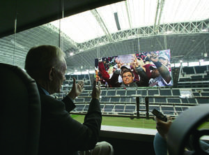 Photo - Cowboys owner Jerry Jones is angling to bring a piece of college football's new playoff system to his stadium in Arlington, Texas. Photos by The Associated Press. Photo illustration by Phillip Baeza, The Oklahoman