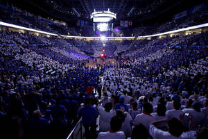 photo - Fans pack the arena before Game 4 of the Western Conference Finals between the Oklahoma City Thunder and the San Antonio Spurs in the NBA playoffs at the Chesapeake Energy Arena in Oklahoma City, Saturday, June 2, 2012. Photo by Bryan Terry, The Oklahoman