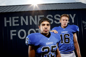 Photo - HENNESSEY HIGH SCHOOL FOOTBALL: Hennessey's Ivan Moreno, left, and Levi Hill , pose for a photo in Hennessey, Okla., Saturday, August 13, 2011. Photo by Bryan Terry, The Oklahoman ORG XMIT: KOD