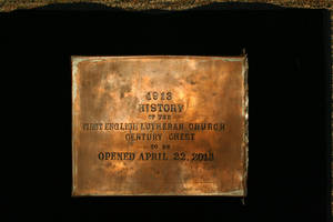 Photo - A small copper box contained a handwritten book of the chest's contents.  OKLAHOMA HISTORICAL SOCIETY PHOTO