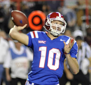 Photo -   Louisiana Tech's Quarterback Colby Cameron threw for 329 yards during an NCAA football game against Texas A& M in Shreveport, La.,Saturday, Oct. 13, 2012. (AP Photo/Kita K Wright)