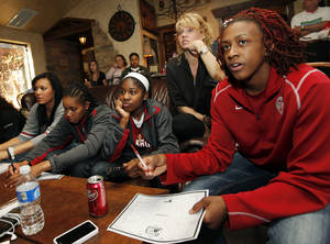 Photo - Oklahoma coach Sherri Coale, second from right, and Sooner players, including Danielle Robinson, right, watch the NCAA Women's Basketball Tournament selection show during a watch party at Coale's home in Norman on Monday.  Photo by Nate Billings, The Oklahoman
