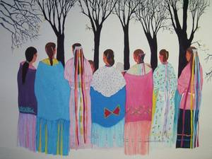 "Photo - ""Shawnee Women"" is one of the many traditional ""flat"" paintings by Ruthe Blalock Jones, who has been named the 2011 Red Earth Honored One. Photo provided. <strong></strong>"