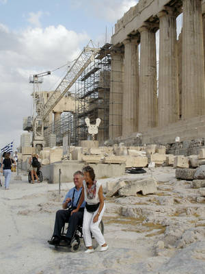 Photo - Even ancient sites can have modern conveniences: Travelers who can't use steps can take an elevator to reach the top of the Acropolis in Athens. (Photo by Rick Steves)