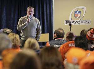 Photo - NFL commissioner Roger Goodell answers questions for fans during an availability with fans and reporters before an AFC divisional playoff NFL football game between the Baltimore Ravens and Denver Broncos, Saturday, Jan. 12, 2013, in Denver. (AP Photo/Charlie Riedel)