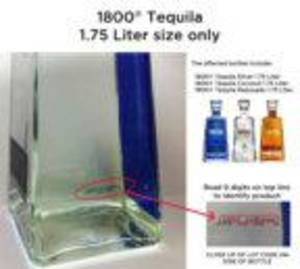 Photo - Nine Digit Lot Code Located on Side of Bottles of Recalled 1800 1.75 liter Packaging.  (PRNewsFoto/Agavera Camichines, S.A. de C.V.)